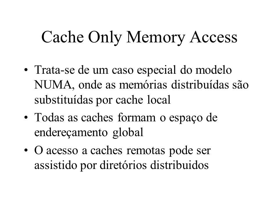 Cache Only Memory Access Trata-se de um caso especial do modelo NUMA, onde as memórias distribuídas são substituídas por cache local Todas as caches formam o espaço de endereçamento global O acesso a caches remotas pode ser assistido por diretórios distribuidos