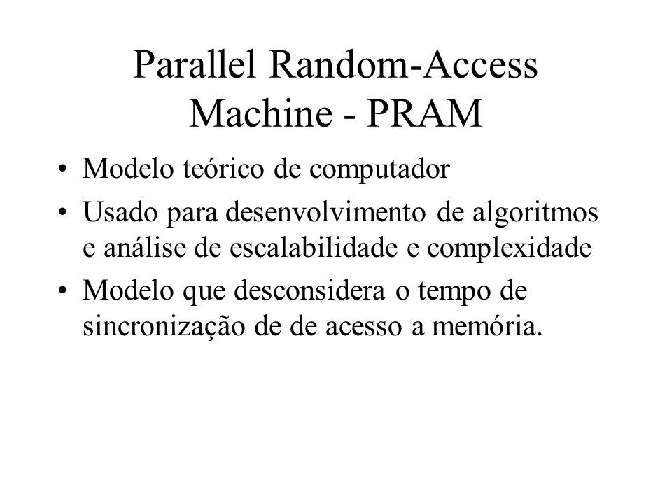 Parallel Random-Access Machine - PRAM Modelo teórico de computador Usado para desenvolvimento de algoritmos e análise de escalabilidade e complexidade Modelo que desconsidera o tempo de sincronização de de acesso a memória.