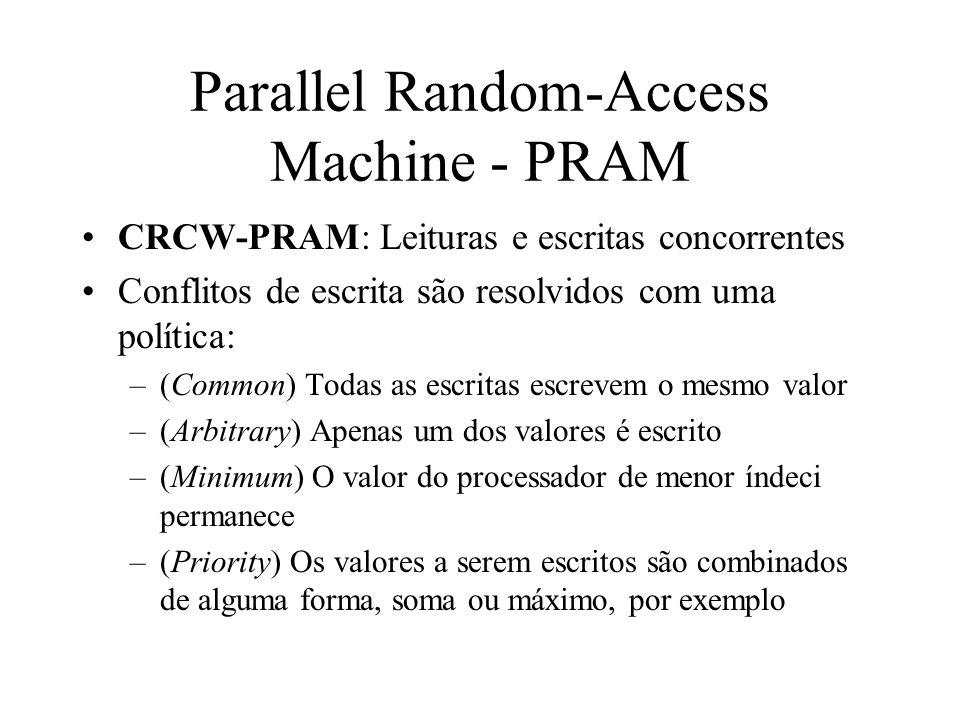 Parallel Random-Access Machine - PRAM CRCW-PRAM: Leituras e escritas concorrentes Conflitos de escrita são resolvidos com uma política: –(Common) Todas as escritas escrevem o mesmo valor –(Arbitrary) Apenas um dos valores é escrito –(Minimum) O valor do processador de menor índeci permanece –(Priority) Os valores a serem escritos são combinados de alguma forma, soma ou máximo, por exemplo