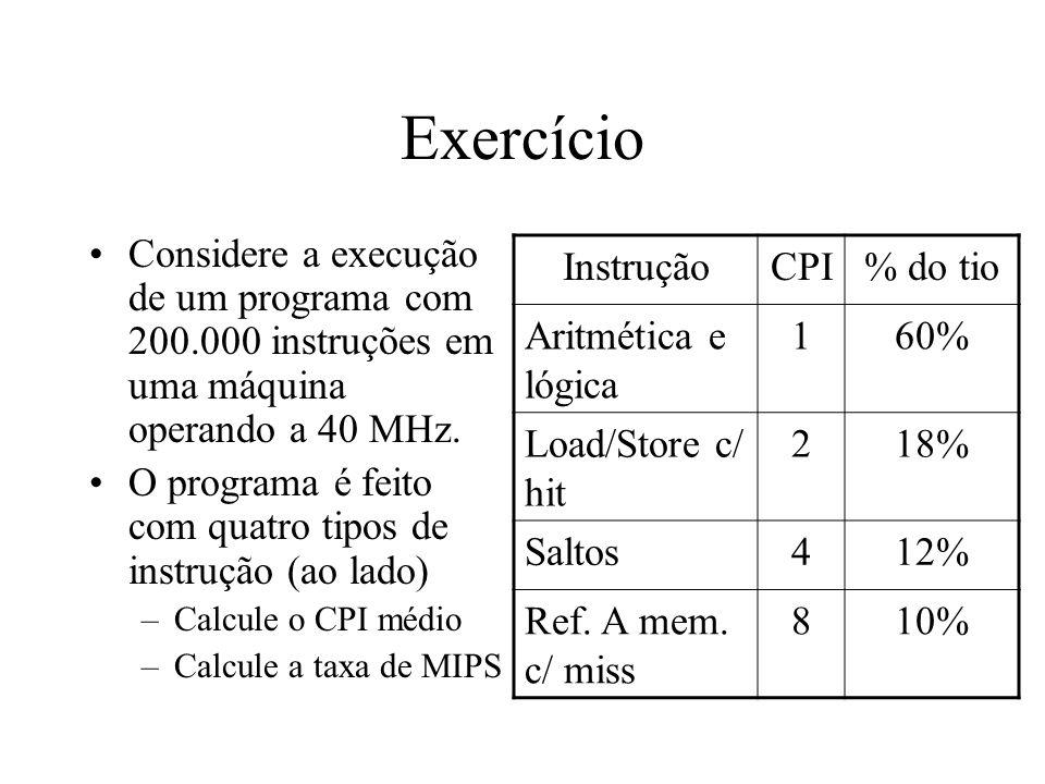Exercício Considere a execução de um programa com 200.000 instruções em uma máquina operando a 40 MHz.
