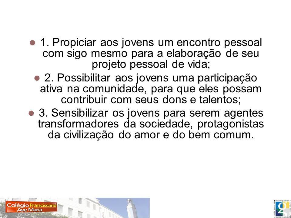 Objetivos específicos 1. Propiciar aos jovens um encontro pessoal com sigo mesmo para a elaboração de seu projeto pessoal de vida; 2. Possibilitar aos