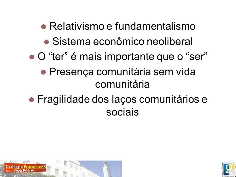 Fragilização dos laços comunitários e negação da vida Relativismo e fundamentalismo Sistema econômico neoliberal O ter é mais importante que o ser Pre