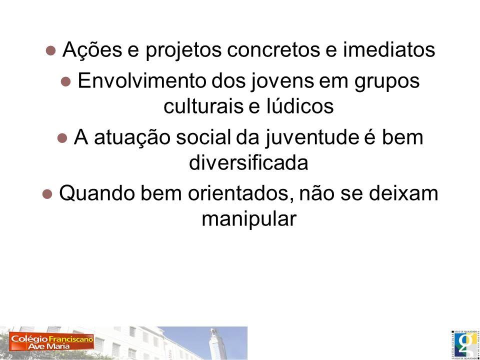 Ativismo privado e a atuação do jovem Ações e projetos concretos e imediatos Envolvimento dos jovens em grupos culturais e lúdicos A atuação social da