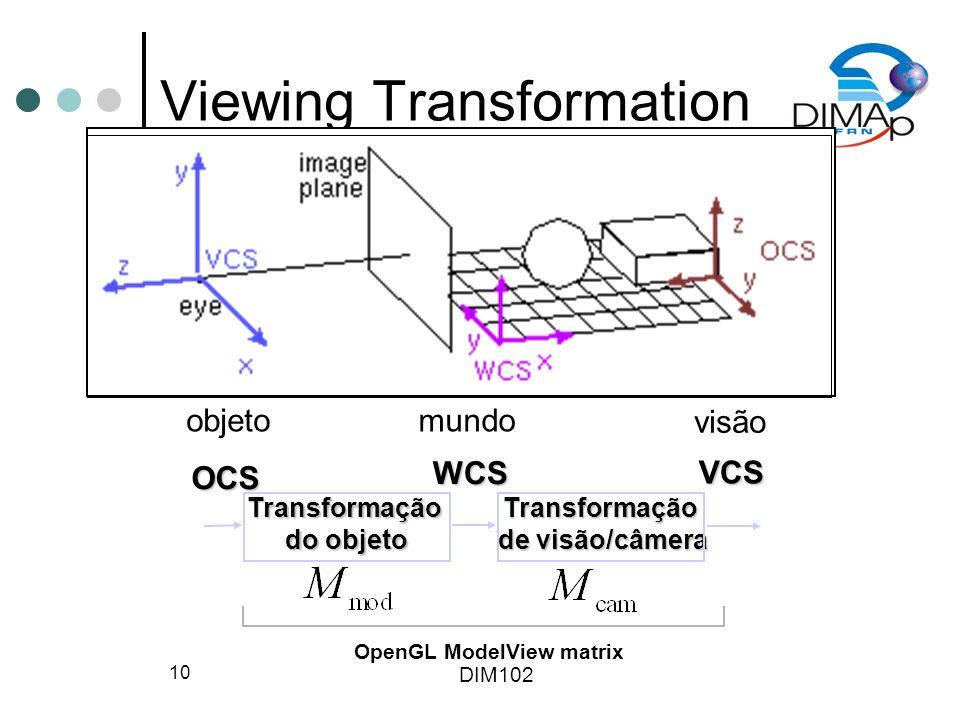 DIM102 10 Viewing Transformation OCS WCS VCSTransformação do objeto Transformação de visão/câmera OpenGL ModelView matrix objetomundo visão