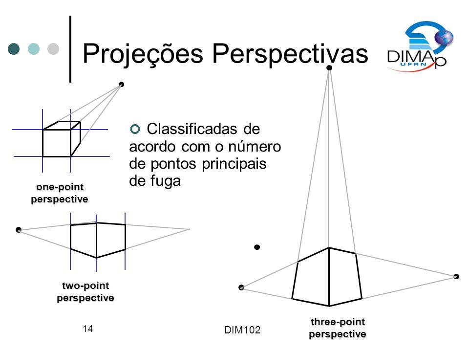 DIM102 14 Projeções Perspectivas one-pointperspective two-pointperspective three-pointperspective Classificadas de acordo com o número de pontos princ