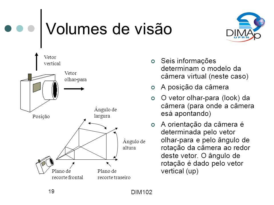 DIM102 19 Volumes de visão Seis informações determinam o modelo da câmera virtual (neste caso) A posição da câmera O vetor olhar-para (look) da câmera