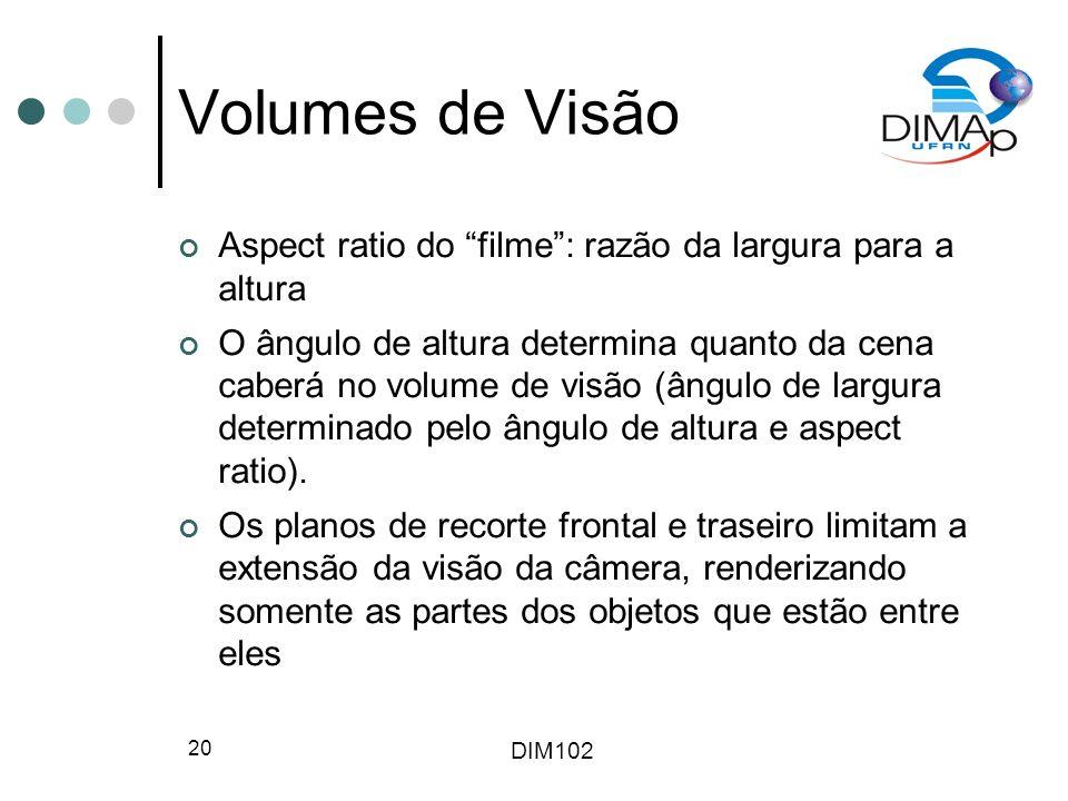 DIM102 20 Volumes de Visão Aspect ratio do filme: razão da largura para a altura O ângulo de altura determina quanto da cena caberá no volume de visão