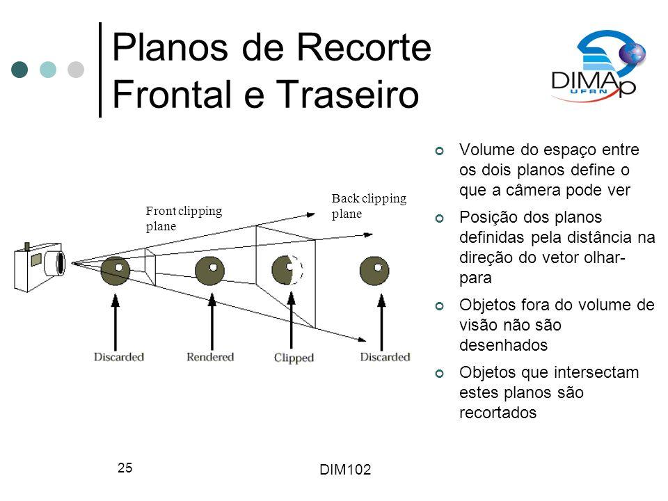 DIM102 25 Planos de Recorte Frontal e Traseiro Volume do espaço entre os dois planos define o que a câmera pode ver Posição dos planos definidas pela