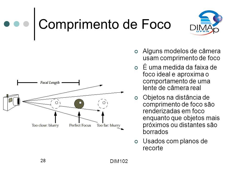 DIM102 28 Comprimento de Foco Alguns modelos de câmera usam comprimento de foco É uma medida da faixa de foco ideal e aproxima o comportamento de uma