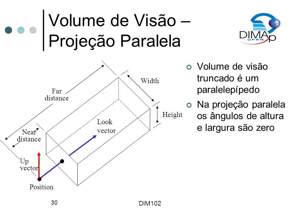 DIM102 30 Volume de Visão – Projeção Paralela Volume de visão truncado é um paralelepípedo Na projeção paralela os ângulos de altura e largura são zer