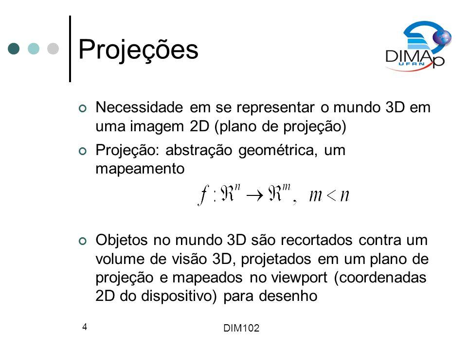 DIM102 4 Projeções Necessidade em se representar o mundo 3D em uma imagem 2D (plano de projeção) Projeção: abstração geométrica, um mapeamento Objetos