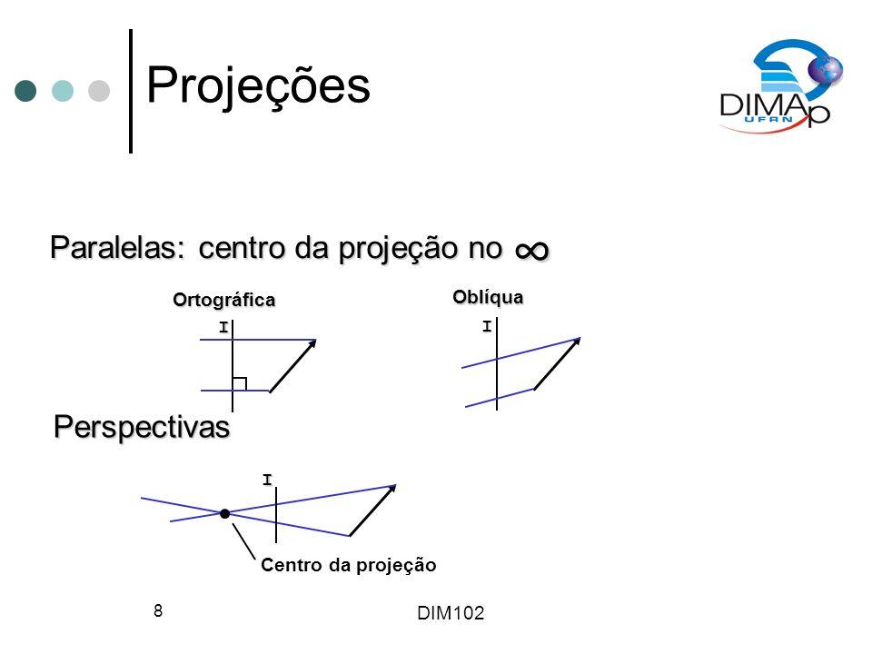 DIM102 29 Especificação do Volume de Visão Posição, vetores olhar-para e vertical (orientação), aspect ratio, ângulo de altura e planos de recorte especificam um volume de visão truncado É a especificação do espaço delimitado que a câmera consegue ver Visão 2D da cena 3D é calculada do volume de visão truncado e projetada no plano de filme Volumes de visão truncados podem ser paralelos ou perspectivos