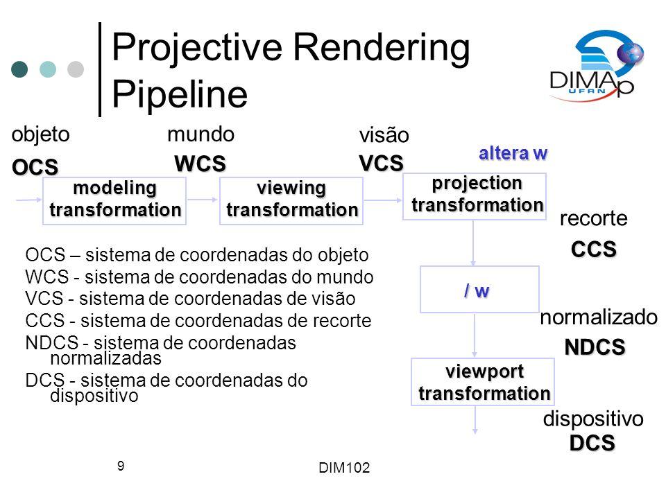 DIM102 30 Volume de Visão – Projeção Paralela Volume de visão truncado é um paralelepípedo Na projeção paralela os ângulos de altura e largura são zero Height Width Look vector Near distance Position Far distance Up vector