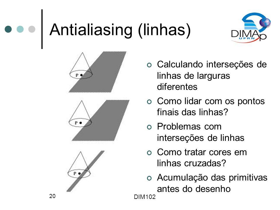 DIM102 20 Antialiasing (linhas) Calculando interseções de linhas de larguras diferentes Como lidar com os pontos finais das linhas.