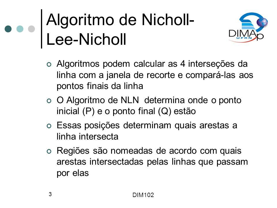 DIM102 4 Algoritmo de Nicholl- Lee-Nicholl Linha PQ é testada para se saber se está a direita ou a esquerda das linhs P(x min,y max ) e P(x max,y max ) Como os cálculos destes testes e das interseções são similares, alguns valores são armazenados para reutilização