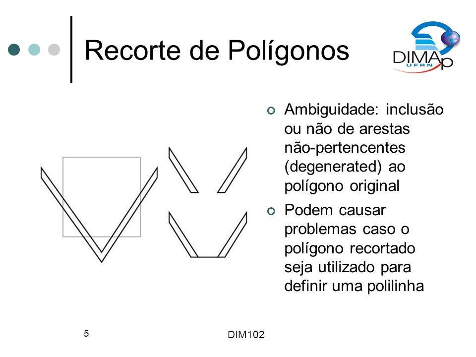 DIM102 6 Algoritmo de Liang- Barsky Polígonos são uma sequência de pontos P 1, P 2,..., P n e as arestas do polígono são P 1 P 2, P 2 P 3,..., P n P 1 P(t)=(1-t)P i + tP i+1, onde 0<t<=1 Regiões são classificadas de acordo com os planos definidos pela linhas de recorte Posições finais de arestas determinam quais linhas de recorte podem ser interceptadas pela próxima aresta