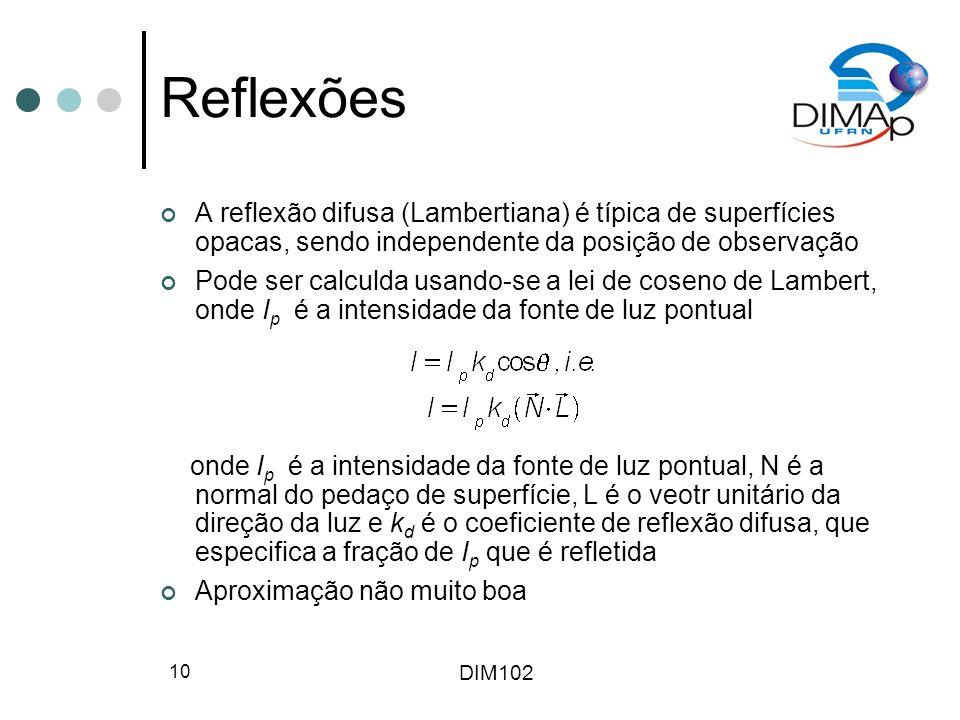 DIM102 10 Reflexões A reflexão difusa (Lambertiana) é típica de superfícies opacas, sendo independente da posição de observação Pode ser calculda usan