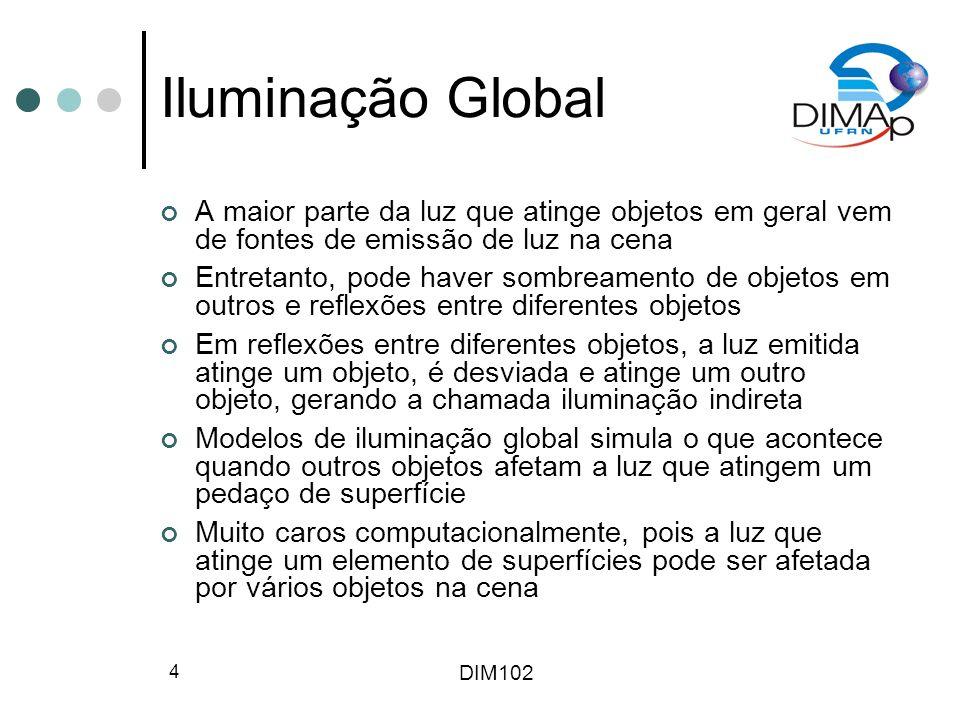 DIM102 4 Iluminação Global A maior parte da luz que atinge objetos em geral vem de fontes de emissão de luz na cena Entretanto, pode haver sombreament