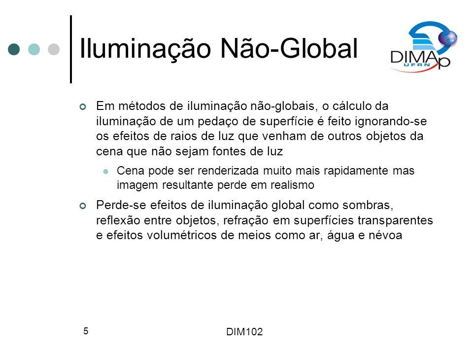 DIM102 5 Iluminação Não-Global Em métodos de iluminação não-globais, o cálculo da iluminação de um pedaço de superfície é feito ignorando-se os efeito