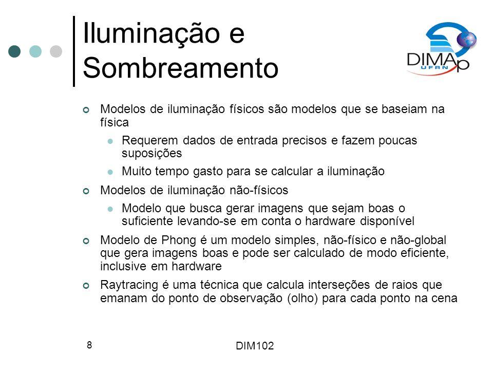 DIM102 8 Iluminação e Sombreamento Modelos de iluminação físicos são modelos que se baseiam na física Requerem dados de entrada precisos e fazem pouca