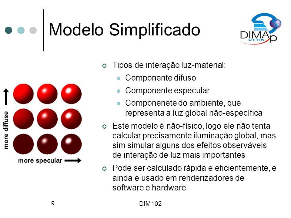 DIM102 10 Reflexões A reflexão difusa (Lambertiana) é típica de superfícies opacas, sendo independente da posição de observação Pode ser calculda usando-se a lei de coseno de Lambert, onde I p é a intensidade da fonte de luz pontual onde I p é a intensidade da fonte de luz pontual, N é a normal do pedaço de superfície, L é o veotr unitário da direção da luz e k d é o coeficiente de reflexão difusa, que especifica a fração de I p que é refletida Aproximação não muito boa