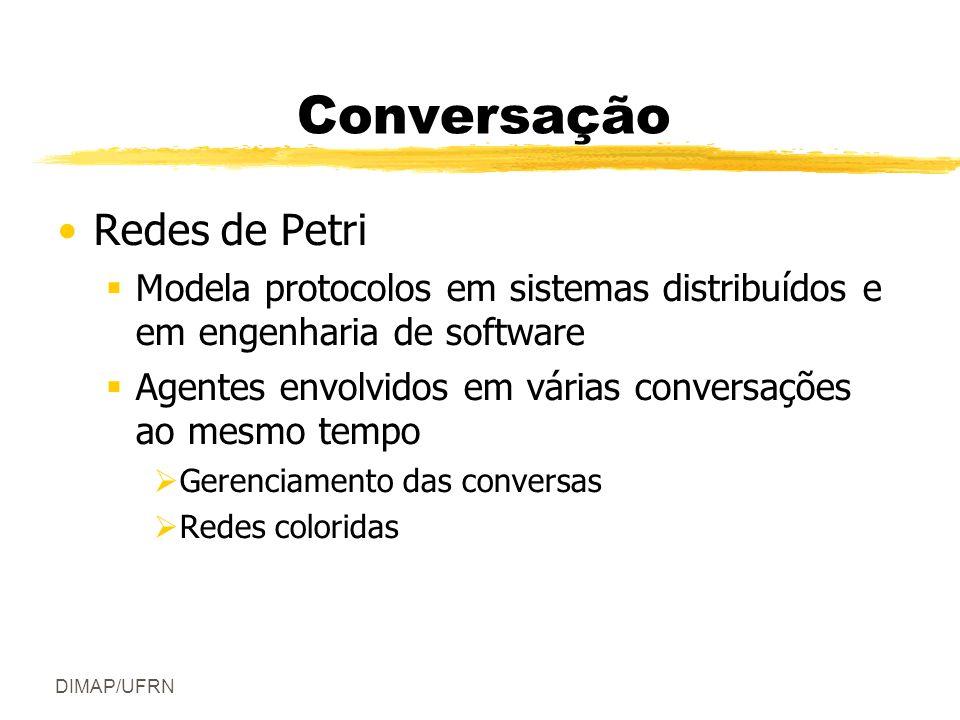 DIMAP/UFRN Conversação Redes de Petri Modela protocolos em sistemas distribuídos e em engenharia de software Agentes envolvidos em várias conversações ao mesmo tempo Gerenciamento das conversas Redes coloridas