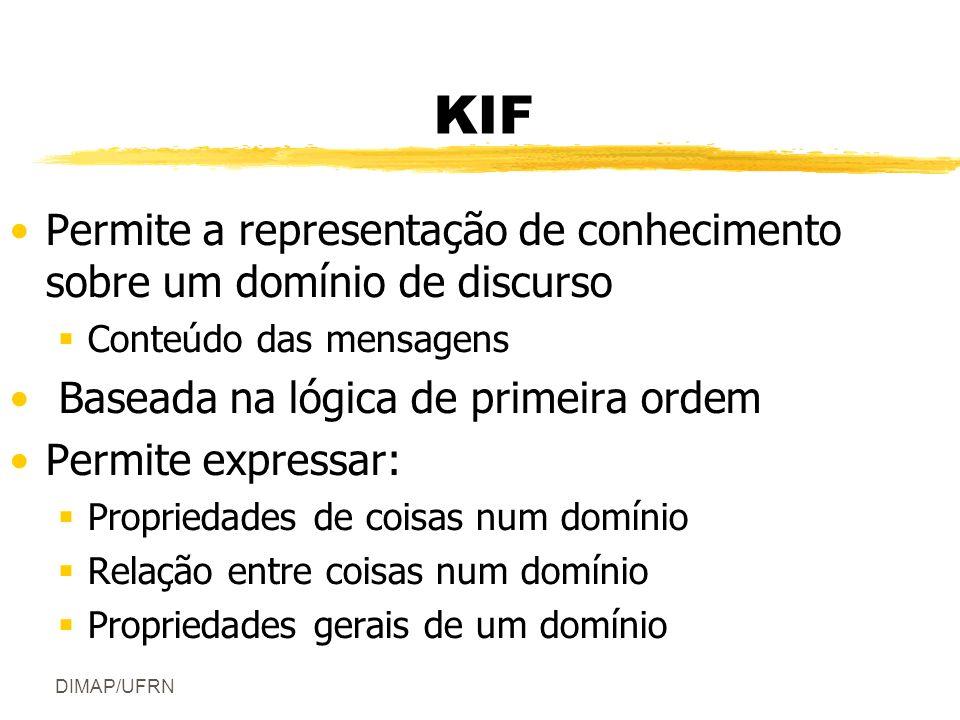 DIMAP/UFRN KIF Permite a representação de conhecimento sobre um domínio de discurso Conteúdo das mensagens Baseada na lógica de primeira ordem Permite expressar: Propriedades de coisas num domínio Relação entre coisas num domínio Propriedades gerais de um domínio