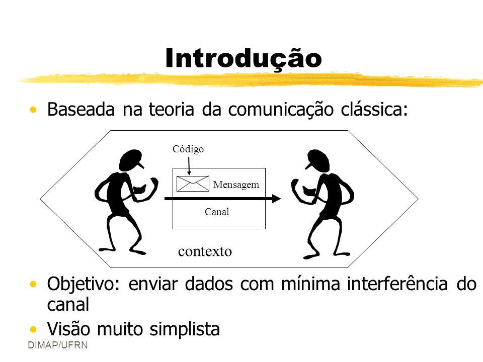 DIMAP/UFRN Introdução Baseada na teoria da comunicação clássica: Objetivo: enviar dados com mínima interferência do canal Visão muito simplista Mensagem Canal Código contexto