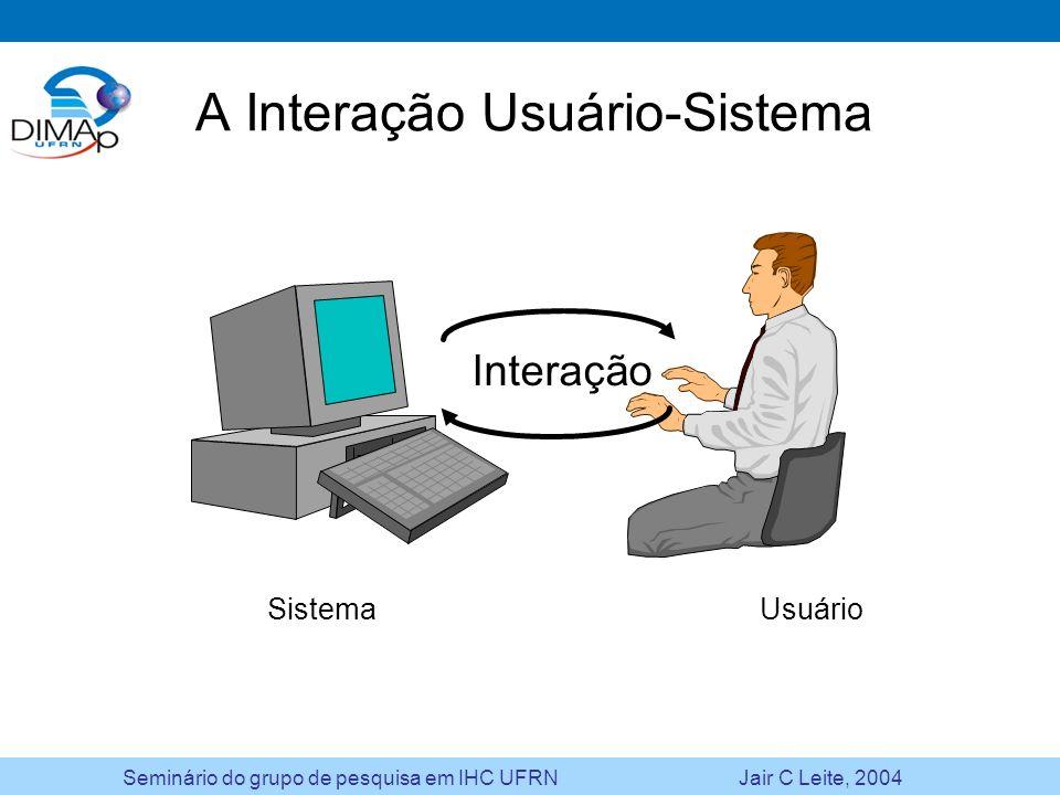 Seminário do grupo de pesquisa em IHC UFRN Jair C Leite, 2004 A Interação Usuário-Sistema Interação Sistema Usuário