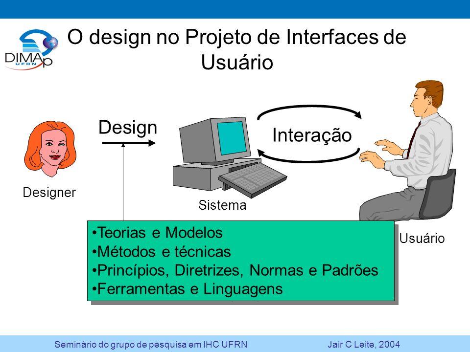 Seminário do grupo de pesquisa em IHC UFRN Jair C Leite, 2004 O design no Projeto de Interfaces de Usuário Design Interação Teorias e Modelos Métodos