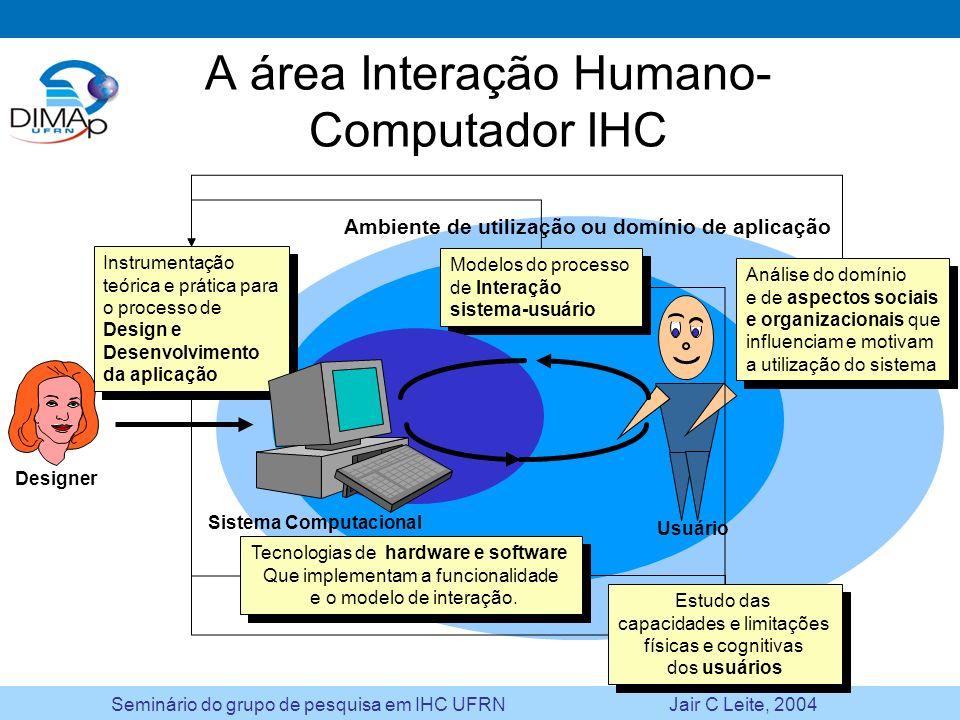 Seminário do grupo de pesquisa em IHC UFRN Jair C Leite, 2004 Questões abertas a serem investigadas Metodologias –Integração de análise, design e implementação e destas com a engenharia de software –Técnicas, modelagem e ferramentas de alto nível Novos paradigmas de interação: computação móvel, pervasiva e ubíqua –Teorias e modelos –Linguagens e ferramentas –Integração: mesma aplicação, diferentes interfaces