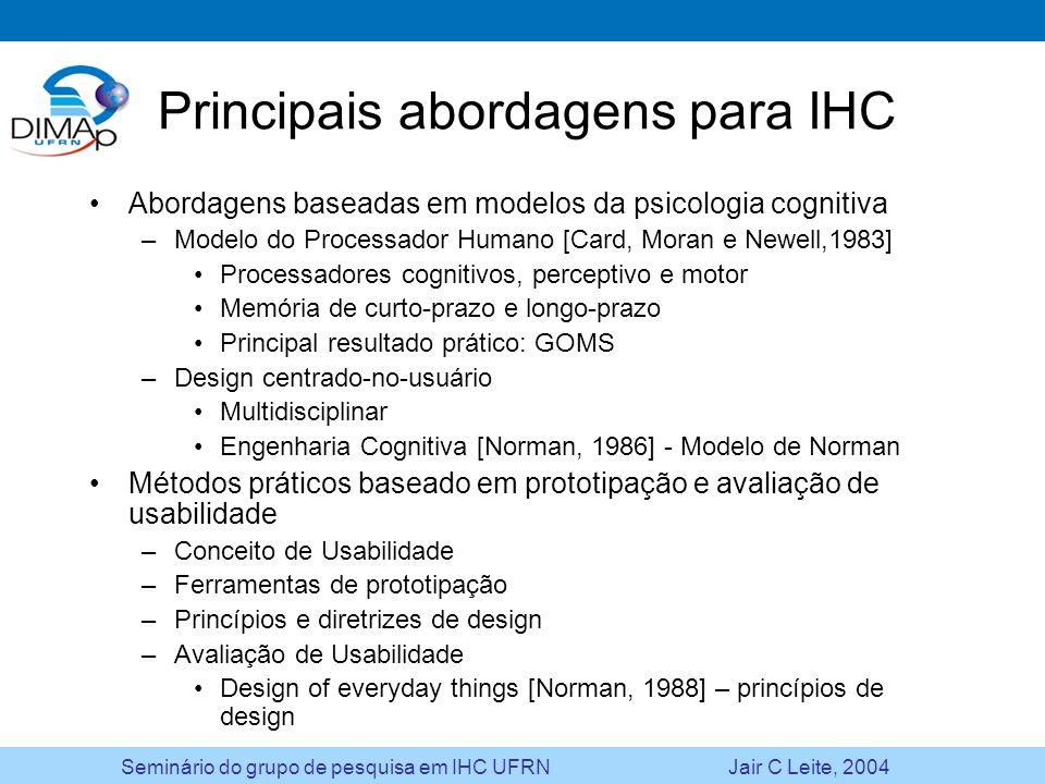 Seminário do grupo de pesquisa em IHC UFRN Jair C Leite, 2004 Principais abordagens para IHC Abordagens baseadas em modelos da psicologia cognitiva –M