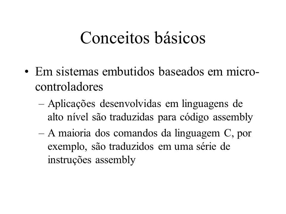 Conceitos básicos Em sistemas embutidos baseados em micro- controladores –Aplicações desenvolvidas em linguagens de alto nível são traduzidas para cód
