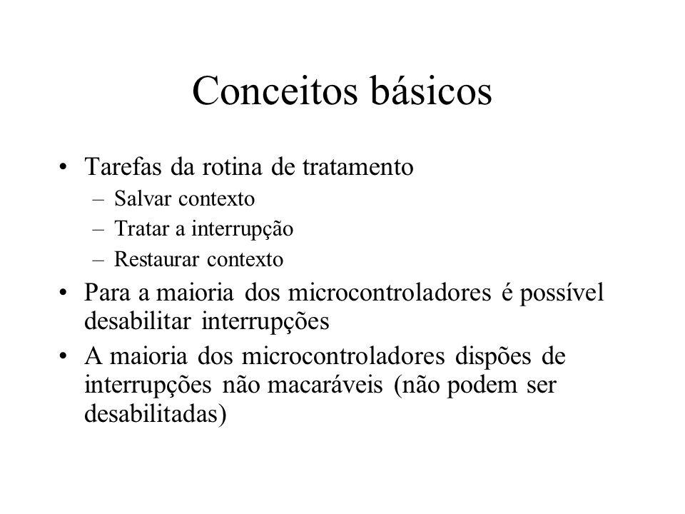 Conceitos básicos Tarefas da rotina de tratamento –Salvar contexto –Tratar a interrupção –Restaurar contexto Para a maioria dos microcontroladores é p