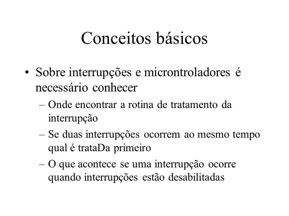 Conceitos básicos Sobre interrupções e microntroladores é necessário conhecer –Onde encontrar a rotina de tratamento da interrupção –Se duas interrupç
