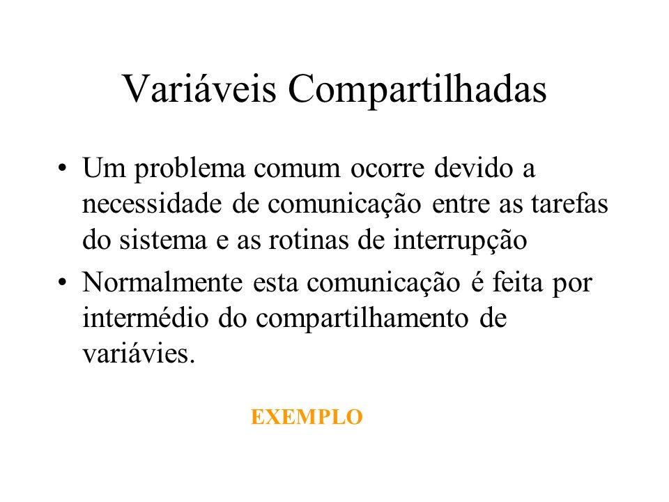 Variáveis Compartilhadas Um problema comum ocorre devido a necessidade de comunicação entre as tarefas do sistema e as rotinas de interrupção Normalme