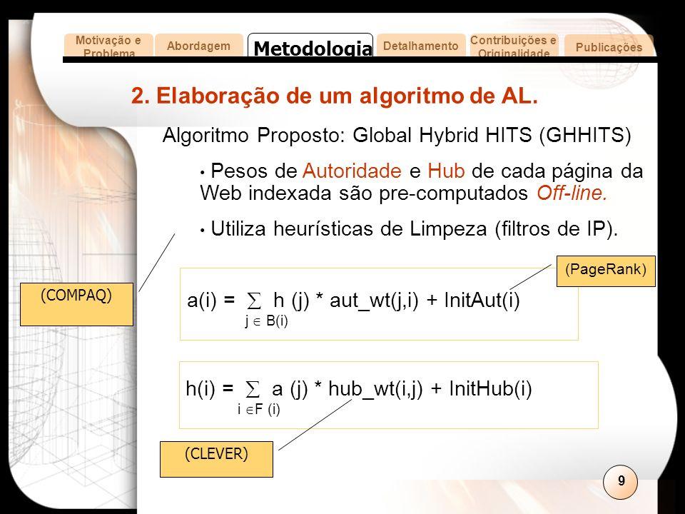 9 2. Elaboração de um algoritmo de AL.