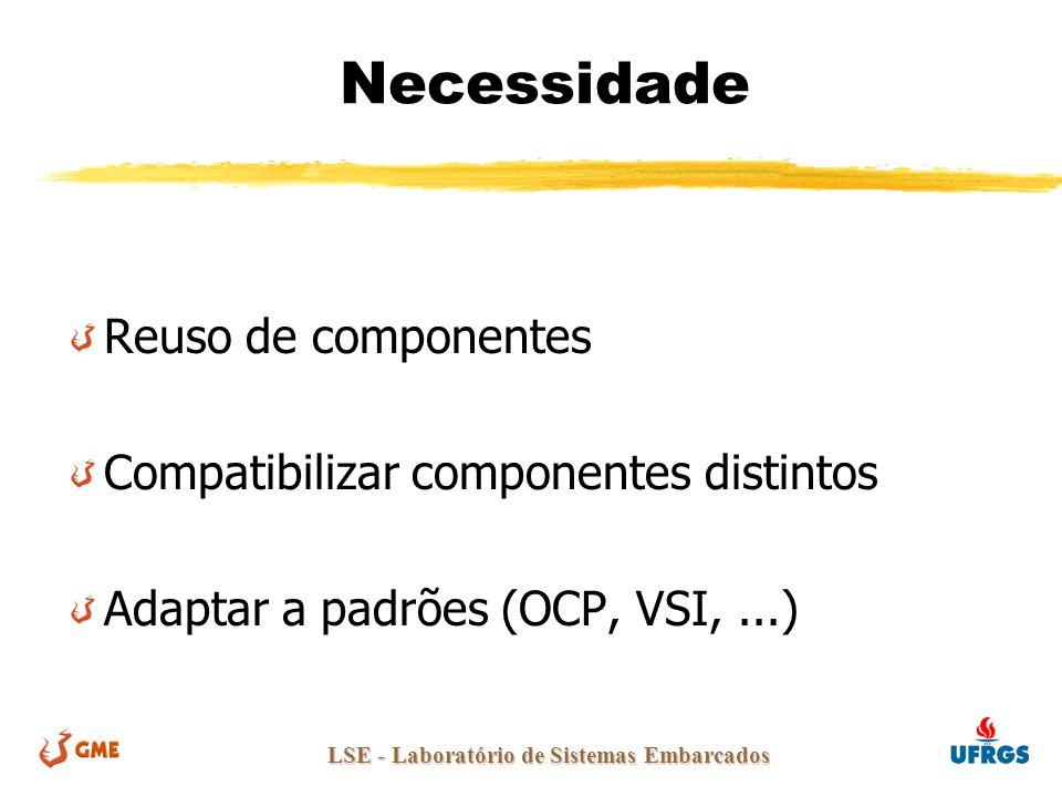 LSE - Laboratório de Sistemas Embarcados Necessidade Reuso de componentes Compatibilizar componentes distintos Adaptar a padrões (OCP, VSI,...)