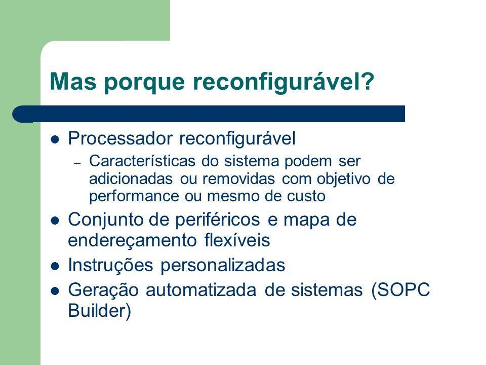 Mas porque reconfigurável? Processador reconfigurável – Características do sistema podem ser adicionadas ou removidas com objetivo de performance ou m