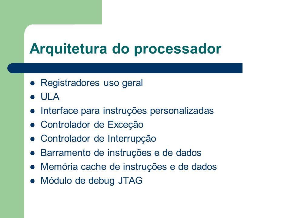 Arquitetura do processador Registradores uso geral ULA Interface para instruções personalizadas Controlador de Exceção Controlador de Interrupção Barr
