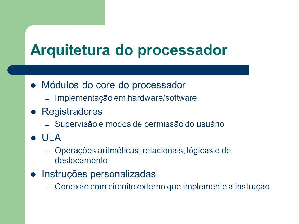 Módulos do core do processador – Implementação em hardware/software Registradores – Supervisão e modos de permissão do usuário ULA – Operações aritmét