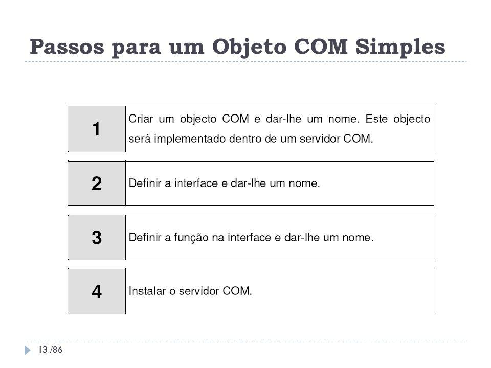 Passos para um Objeto COM Simples 13 13 /86