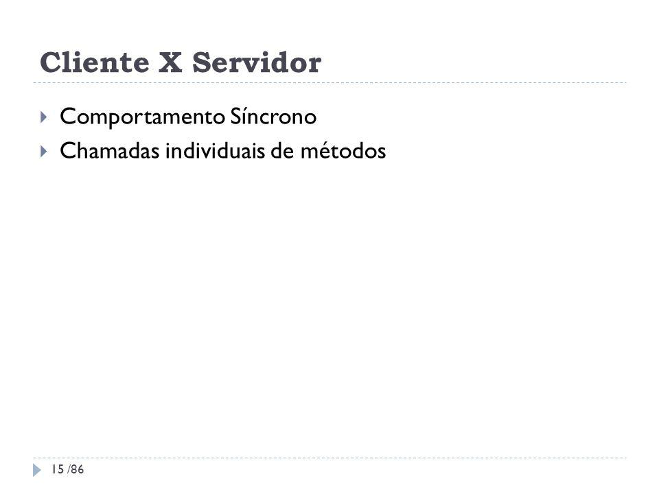 Cliente X Servidor Comportamento Síncrono Chamadas individuais de métodos 15 15 /86
