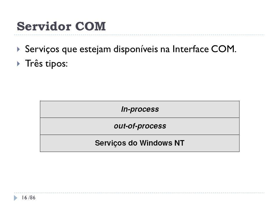 Servidor COM Serviços que estejam disponíveis na Interface COM. Três tipos: 16 16 /86