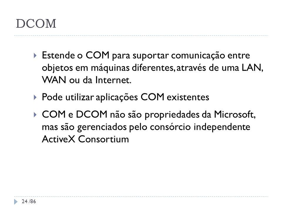 DCOM Estende o COM para suportar comunicação entre objetos em máquinas diferentes, através de uma LAN, WAN ou da Internet. Pode utilizar aplicações CO