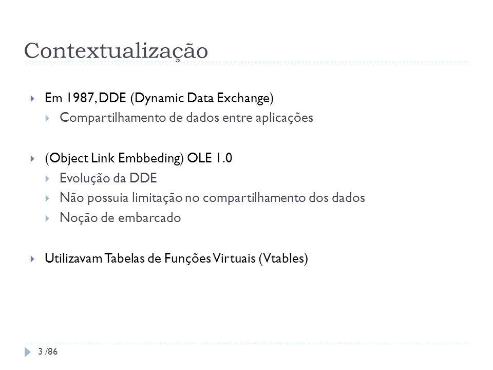 Contextualização Em 1987, DDE (Dynamic Data Exchange) Compartilhamento de dados entre aplicações (Object Link Embbeding) OLE 1.0 Evolução da DDE Não p