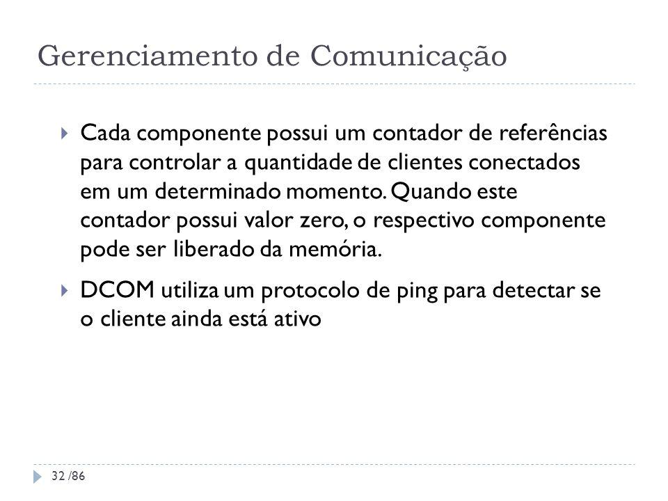 Gerenciamento de Comunicação Cada componente possui um contador de referências para controlar a quantidade de clientes conectados em um determinado mo