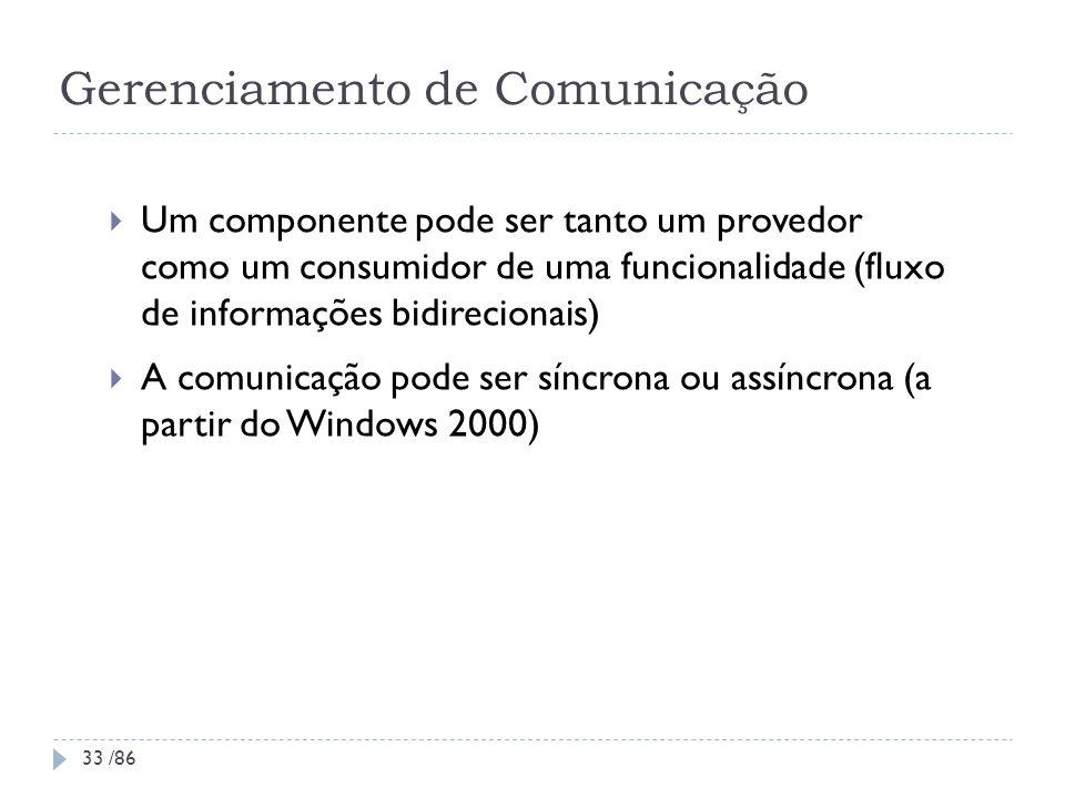 Gerenciamento de Comunicação Um componente pode ser tanto um provedor como um consumidor de uma funcionalidade (fluxo de informações bidirecionais) A