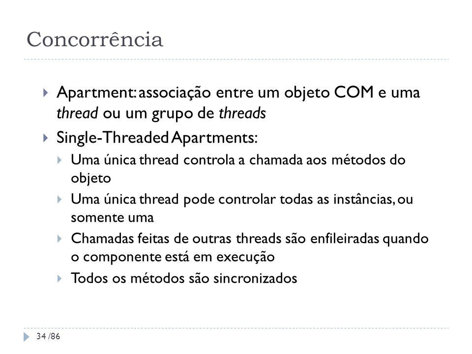 Concorrência Apartment: associação entre um objeto COM e uma thread ou um grupo de threads Single-Threaded Apartments: Uma única thread controla a cha