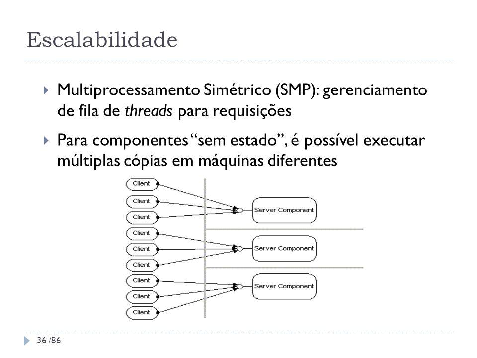 Escalabilidade Multiprocessamento Simétrico (SMP): gerenciamento de fila de threads para requisições Para componentes sem estado, é possível executar